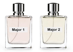 Two Perfume bottles side-by-side labeled Major 1 and Major 2