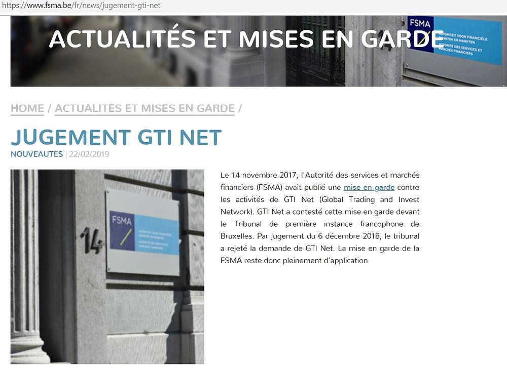 Mise en garde FSMA GTI-Net