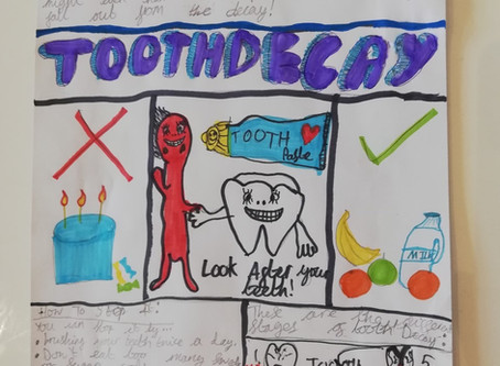 Isabelle in 4P has also been busy making a lovely information poster on how to keep our teeth clean