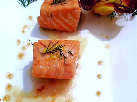 Bocconcini di Salmone con salsa Senape e Miele