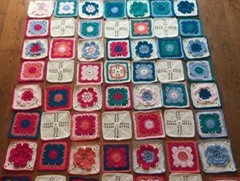 The layout finalised for willow granny square blanket. Just need to crochet them together now.