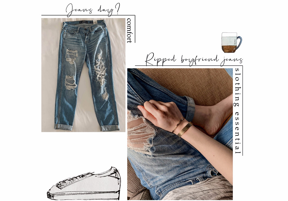 Rollingbear Travels Blog / accessorising Hollister blue ripped boyfriend jeans with metal cuff bracelets