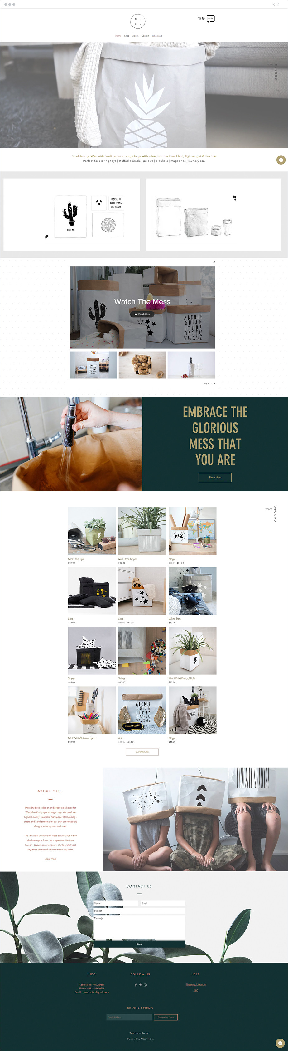 Exemple de site one-page - Mess Studio