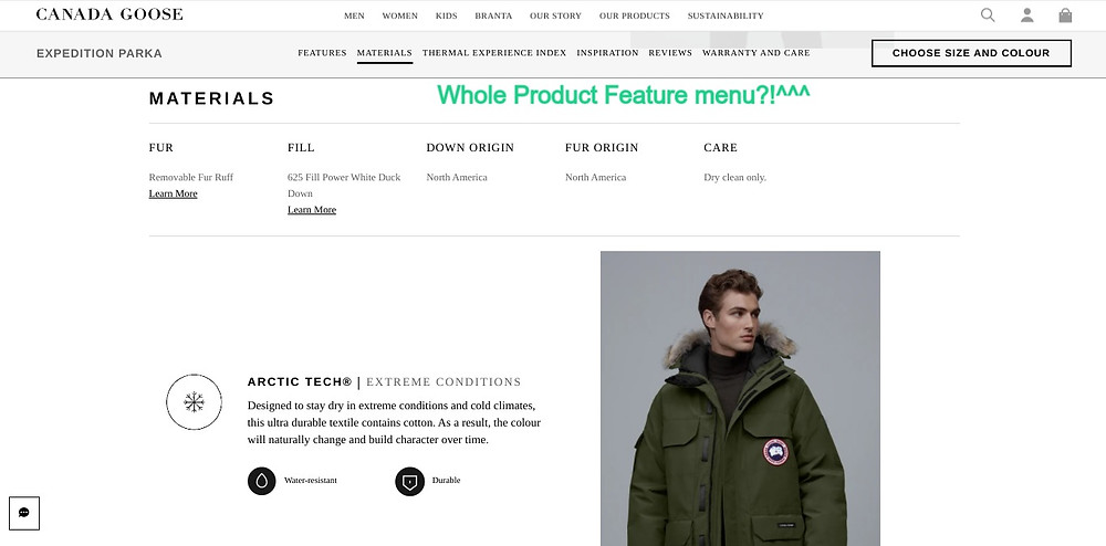 Screenshot of the Canada Goose website's product page showing six dedicated sections of products aspects