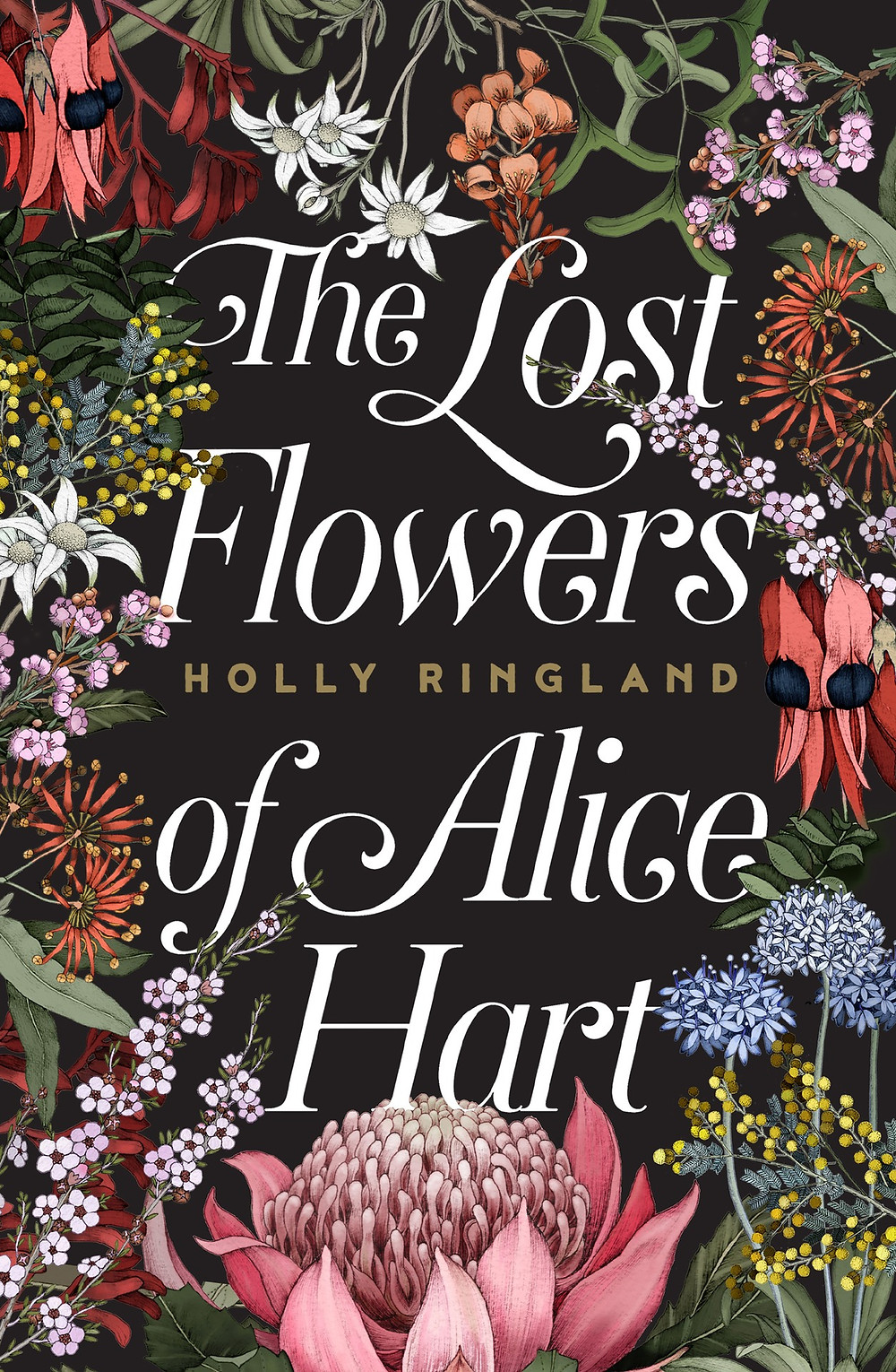 The Lost Flowers of Alice Hart by Holly Ringland, thebookslut book reviews, the book slut, black cover, flowers, australian botanials