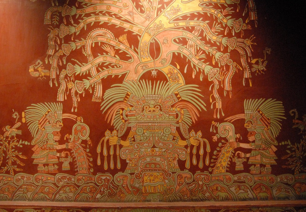Mural from the Tepantitla compound depicting  the Great Goddess of Teotihuacan