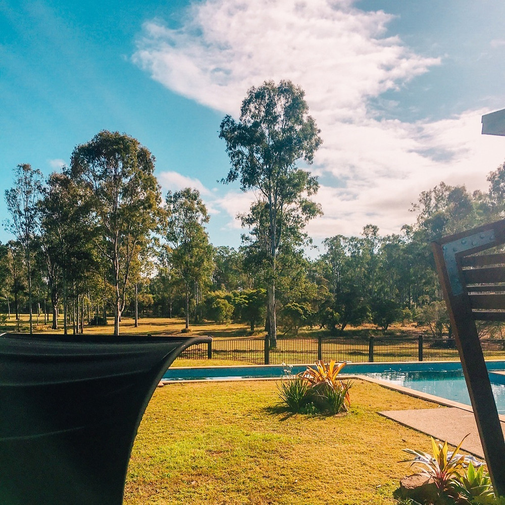 The Lap pool at Hangar O Glamping Campgrounds near Gympie