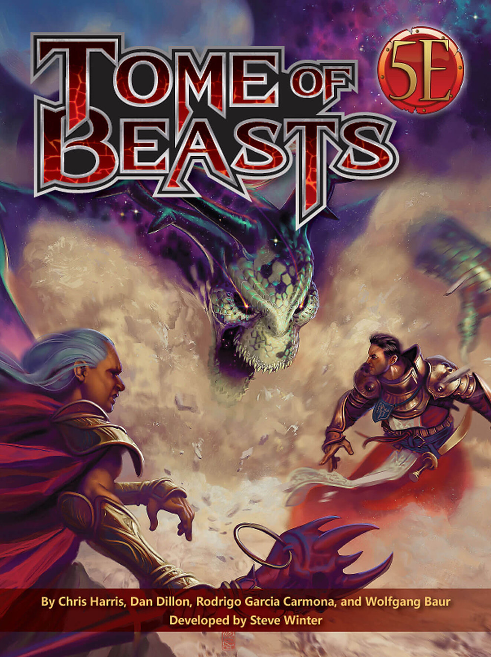 Tome of Beasts cover art: two masculine adventurers battling a large green menacing dragon with the text Tome of Beasts 5E by Chris Harris, Dan Dillon, Rodrigo Garcia Carmona, and Wolfgang Baur developed by Steve Winter.