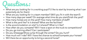 Working Student Pupil Equestrian Questions