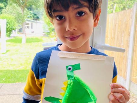 Narayan has made a fantastic dinosaur using his new crafts box. (RJP)