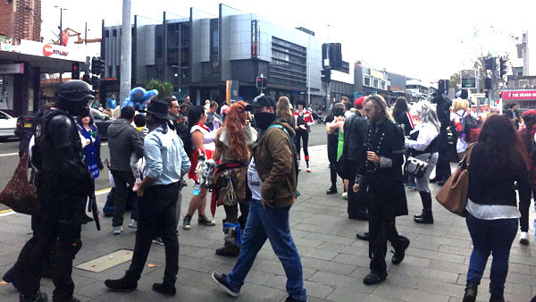 A few of the characters wandering around outside Old Wollongong Town Hall.