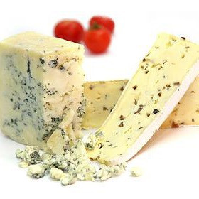 Slices of blue cheese