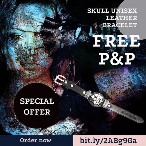 Skull Unisex Leather Bracelet