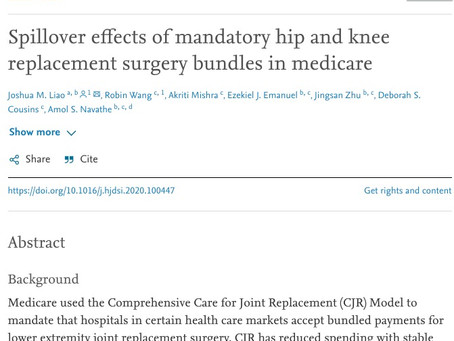 "Do Benefits from Joint Replacement Bundles ""Spill Over"" to benefit other patients?"