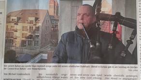 Eine Ode an die Freude - Mit dem Dudelsack ein Zeichen in der Coronakrise - Zeitungsartikel Münster