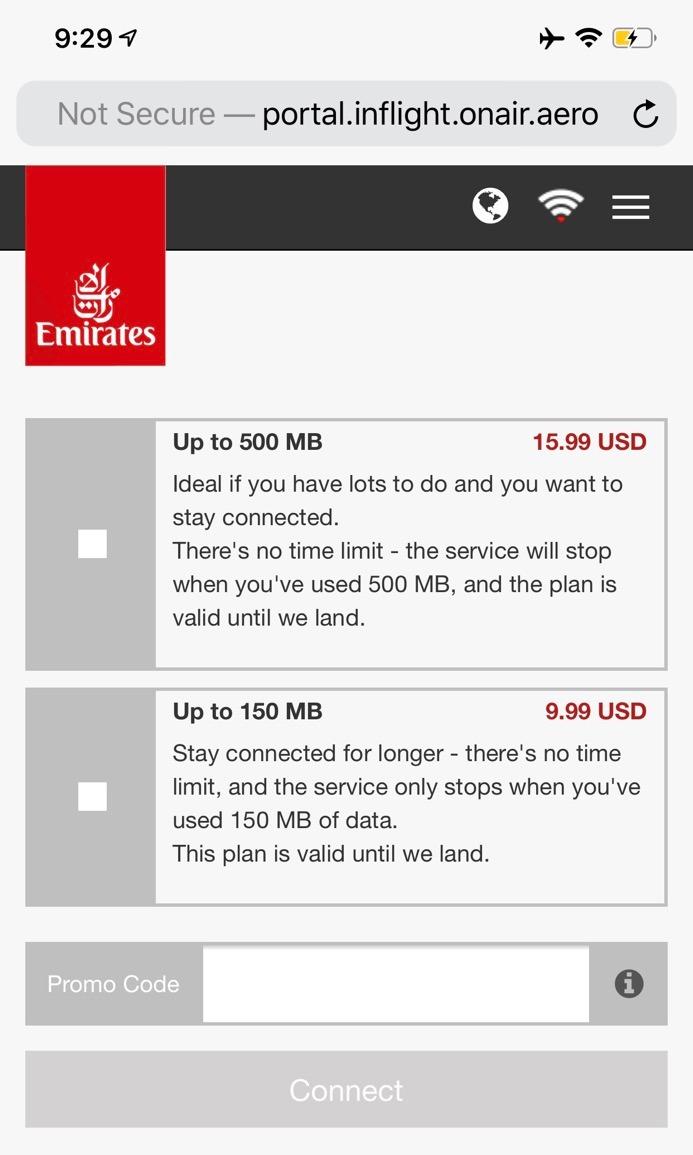 Emirates First Class San Francisco - Dubai, Wi-Fi Service