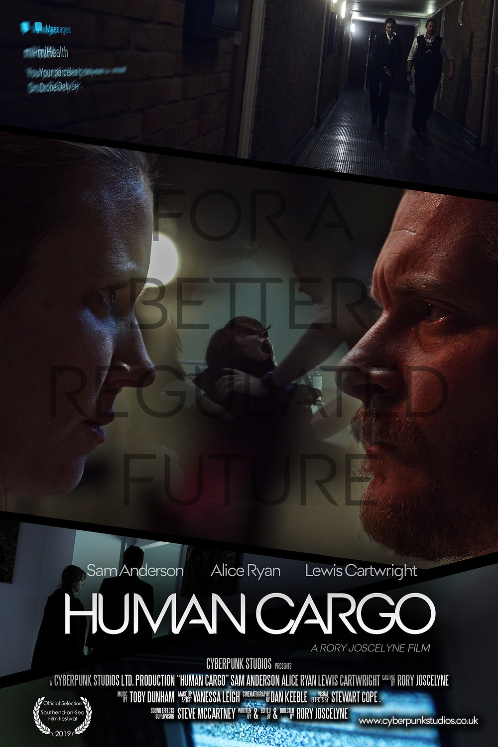 Two enforcement officers, who work on policing the birthing rates in a futuristic Britain, look fiercely into each other's eyes. The film's title 'Human Cargo' in bold lettering at the bottom.