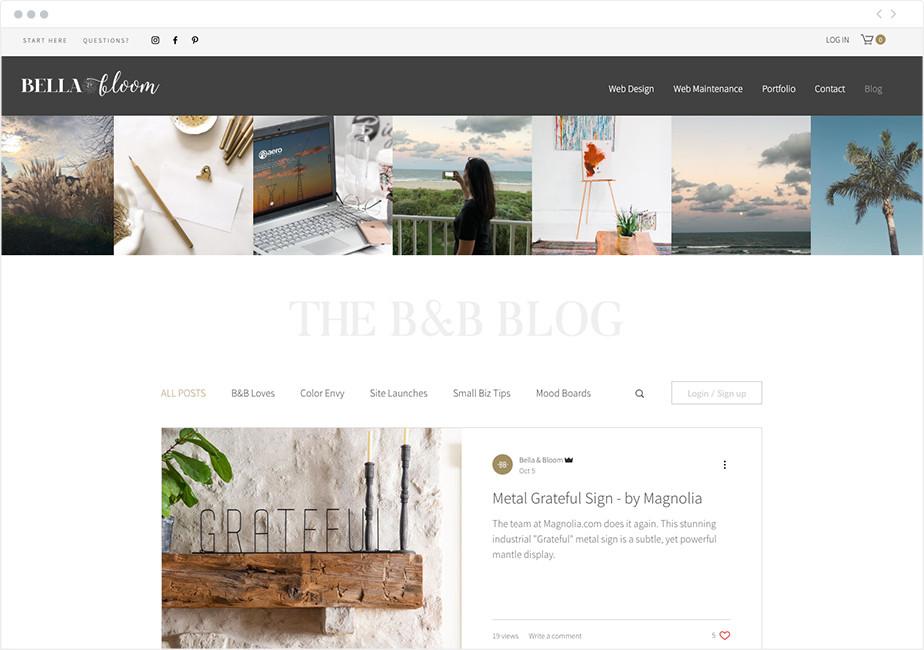 Bella & Bloom blog example