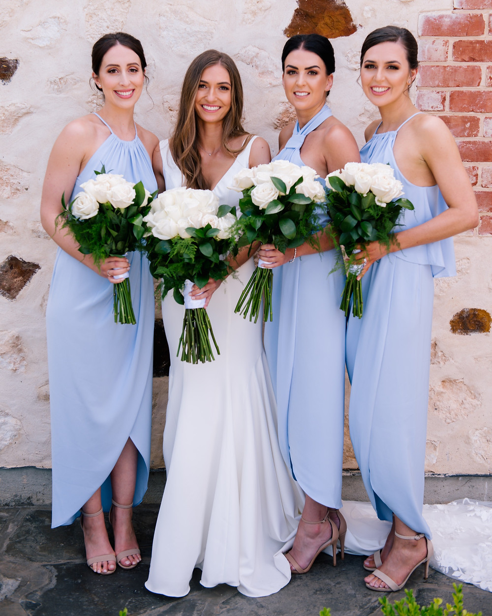 airbrush makeup on bride and bridesmaids