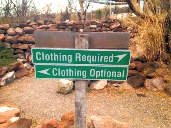 Clothing optional signs
