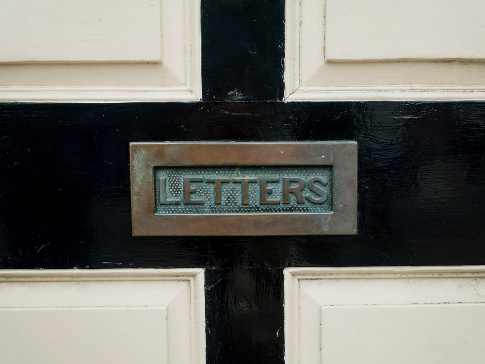 "Sign that reads ""LETTERS"""