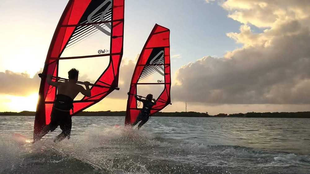 get windsurfing jibing in bonaire
