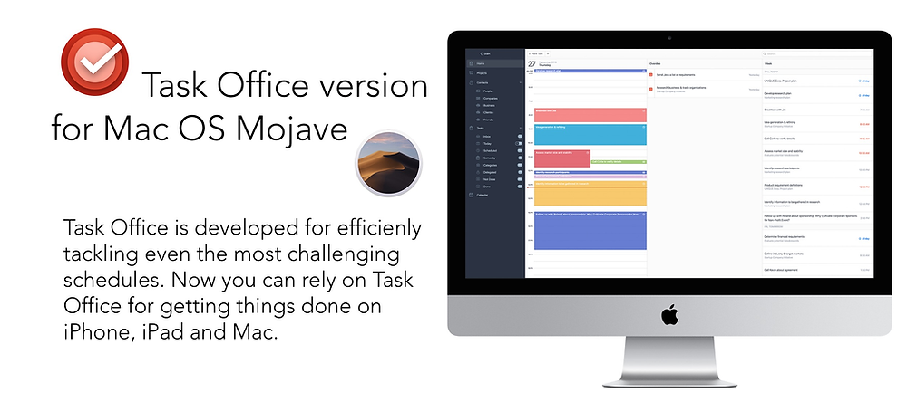 We are glad to announce that long awaited OS X version of Task Office is available in App Store. This is as much efficient tool as iOS version and includes all the important features and possibilities. Now you can rely on Task Office for getting things done on iPhone, iPad and Mac.
