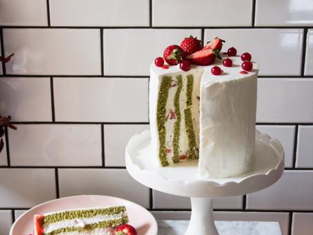 Fluffy, Light Matcha Stripe Cake with Fresh Strawberries and Cream