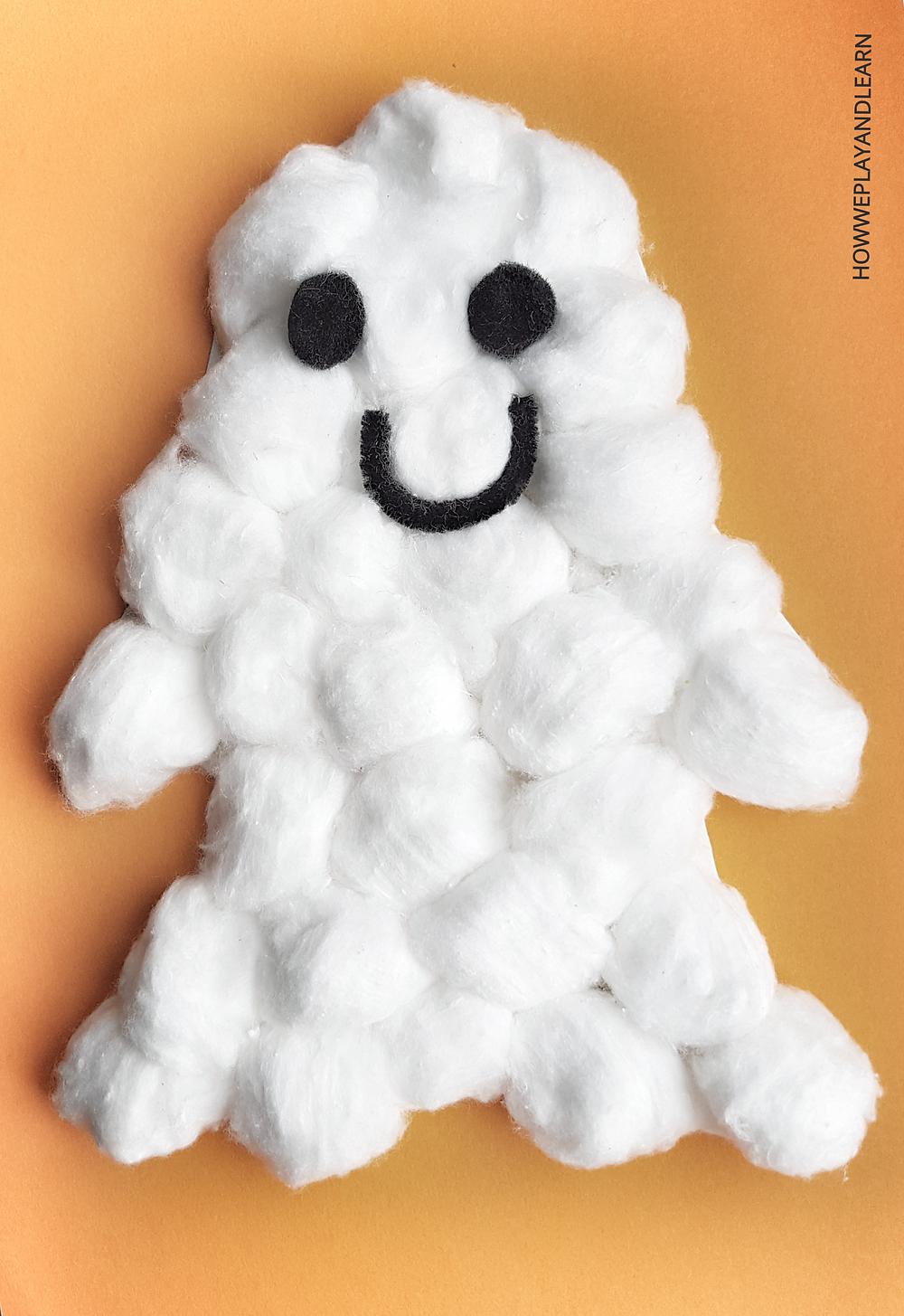 puffy ghost halloween craft on orange background
