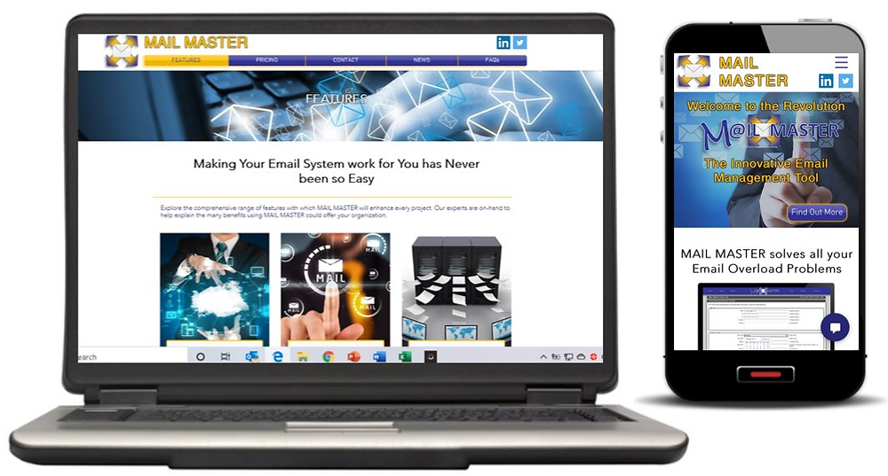 Mail Master new website screenshots | Email Overload Solution UK
