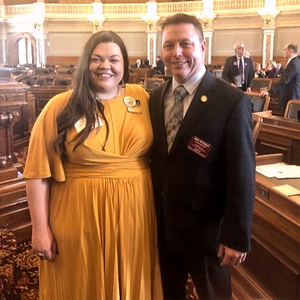 Ms. Tabatha Rosproy, Kansas Teacher of the Year and National Teacher of the Year candidate, with Rep. Pittman on House floor.