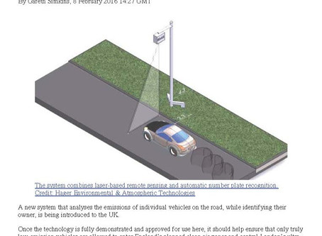 """EDAR Studies Featured on The ENDS Report: """"English Cities Trial System to Catch Polluting Cars"""""""