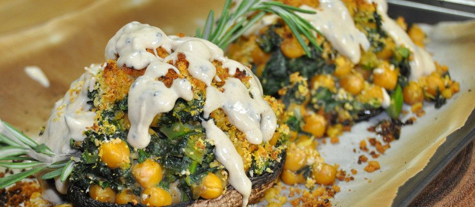 "REAL Food - ""Plant Based High Protein Kale & Chickpea Stuffed Portobello Mushroom"" for REAL people!"