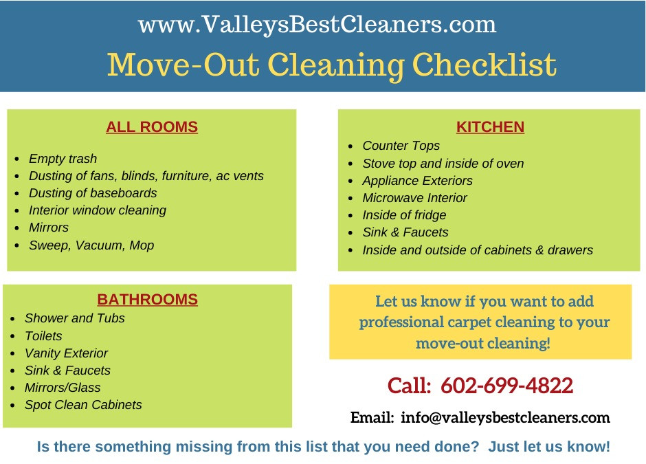 Move-Out House Cleaning Checklist from Valleys Best Cleaners