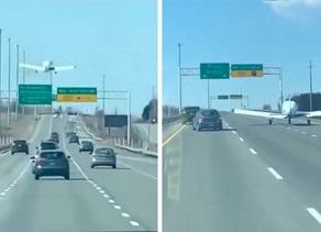 Small Plane Makes Emergency Landing amid Highway Traffic, Drivers Keep Tailgating