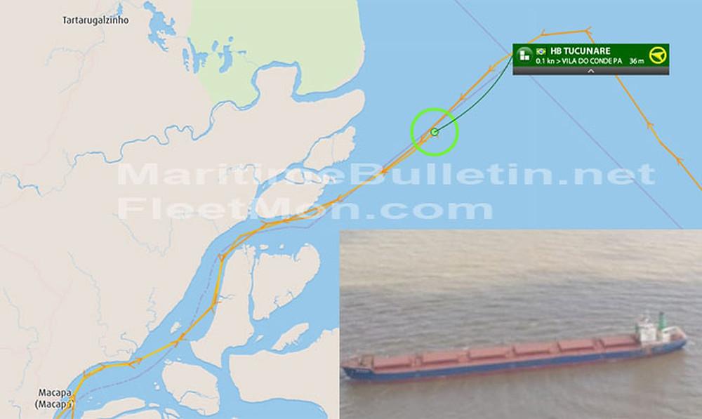 Панамакс сел на мель из-за неточной картографии в устье амазонки