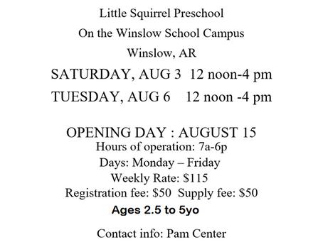 Little Squirrel Preschool now enrolling !