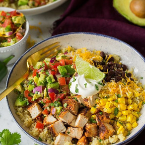 Grilled Chicken Burrito Bowls with Avocado Salsa