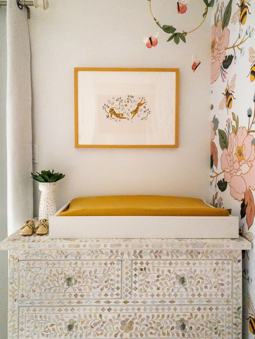Brooklyn, New York, Floral Nursery, bone inlay dresser, Mustard pink and white, Boho
