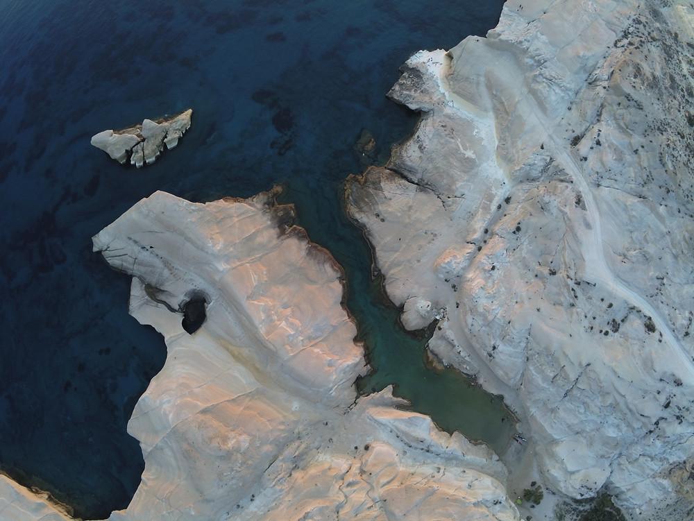 Sarakiniko Beach on Milos, wind blown rock formations