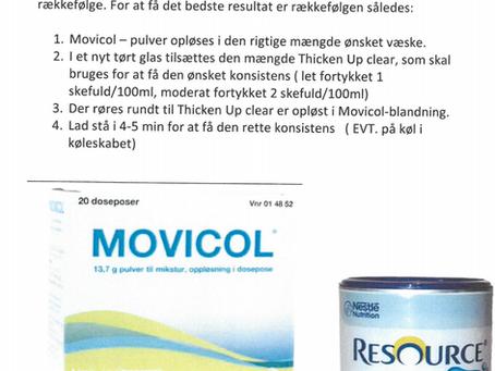 Movicol og fortykkelsesmiddel