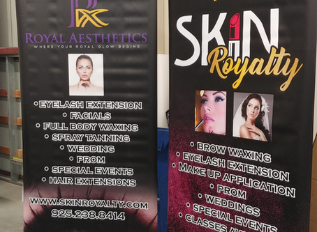 Retractable Banner Stands for Skin Royalty and Royal Aesthetics.