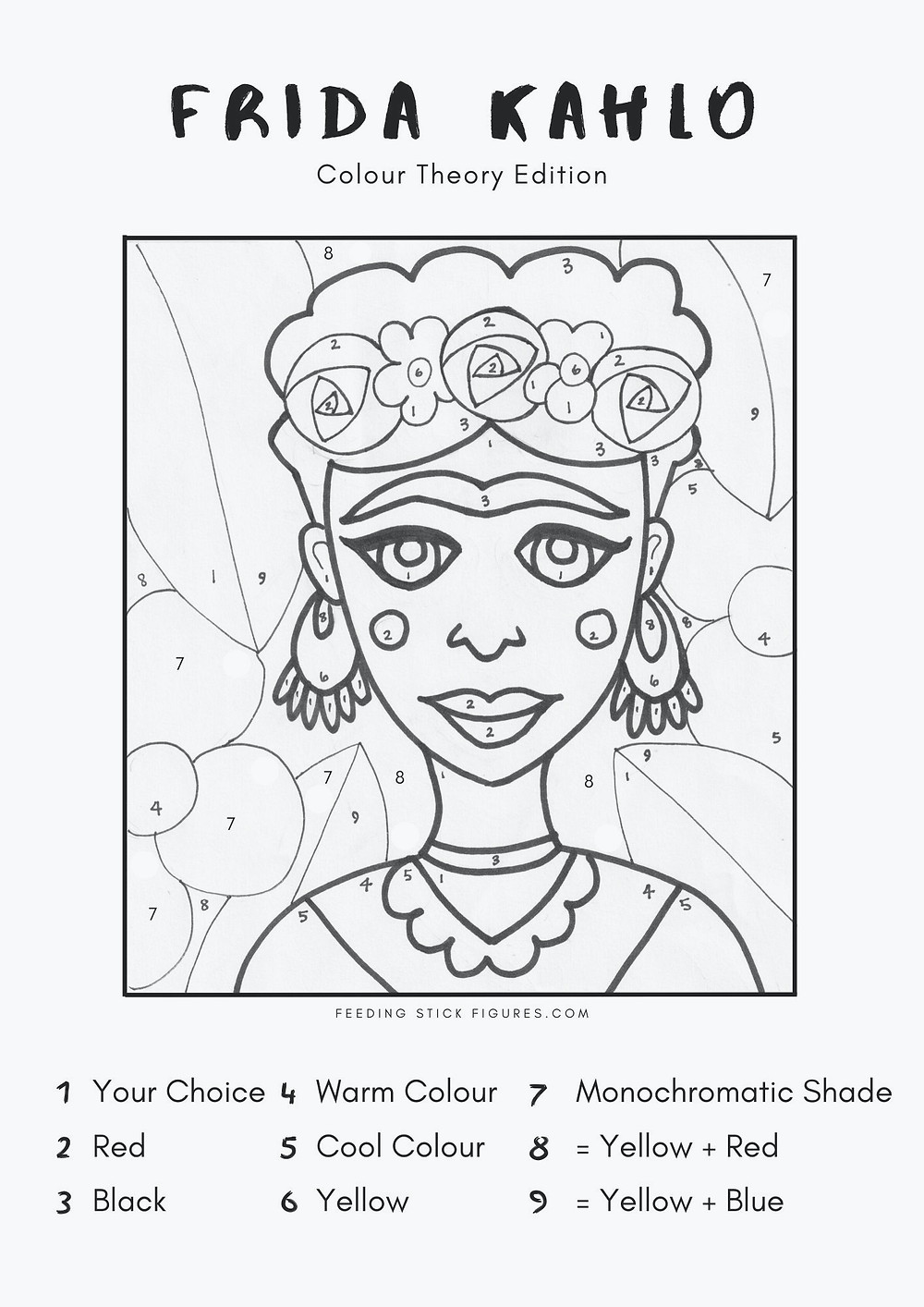Frida Kahlo Colouring page print for kids