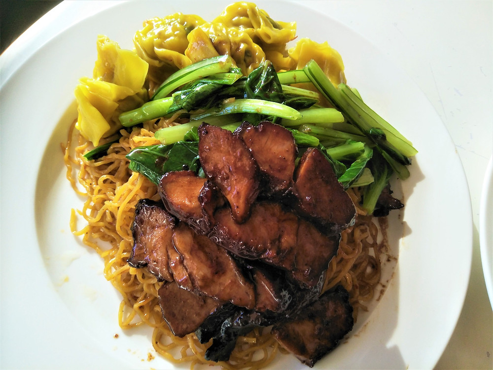 Singapore hawker style Wanton Mee or Wonton Noodles made by Lionel