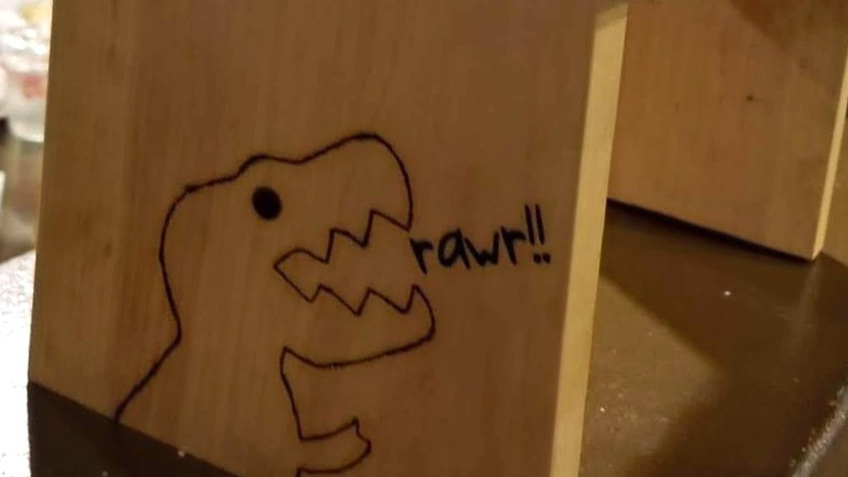 Dinosaur, T-Rex, rawr, Stool, Woodworking, wood burning, vinyl, Cricut, Jurassic, stool