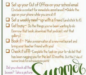 Teacher on Summer Break: Maximum Level Summer Fun Challenge Checklist