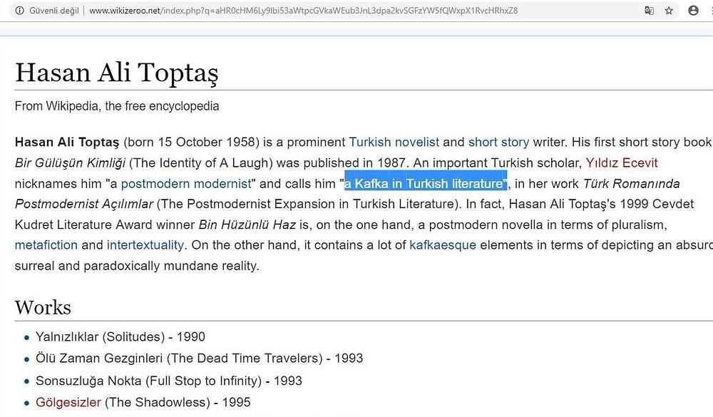 Wikipedia'da Hasan Ali Toptaş başlığı