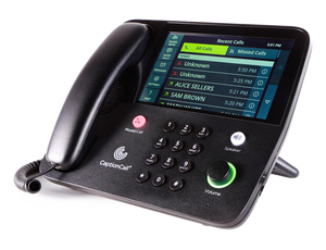 Black Caption Call phone showing large screen display