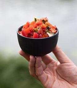 Marinuotų paprikų salotos su pomidorais