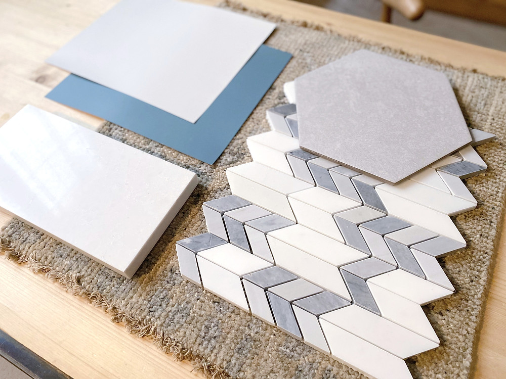 chevron marble tile and cement grey hex tile